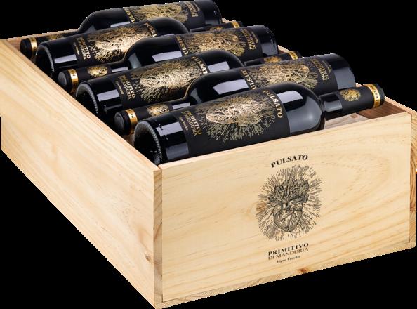 2019 Pulsato Primitivo di Manduria Vigne Vecchie Primitivo di Manduria DOC, trälåda med 12 flaskor