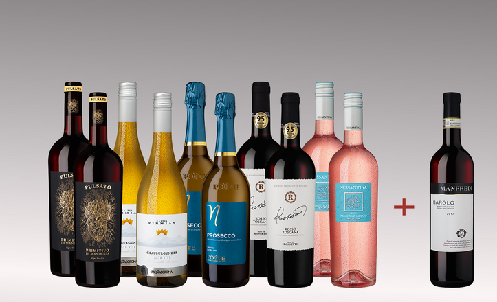 Vinpaket italiensk blandning 5 x 2 +1