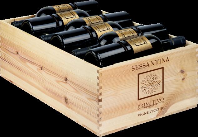 2019 Sessantina Primitivo Salento IGP, trälåda med 12 flaskor